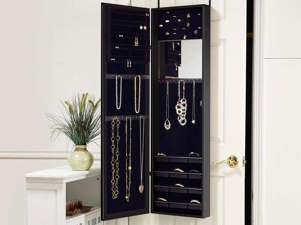 Over-the-Door Mirrored Jewelry Armoire
