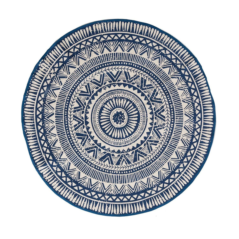 miaVILLA Teppich Sigma Rund 100% Baumwolle Blau Weiß Gemustert Ø 120 ...