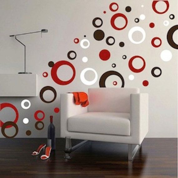 rings and dots wall decal, ring decals, bedroom circles, bedroom