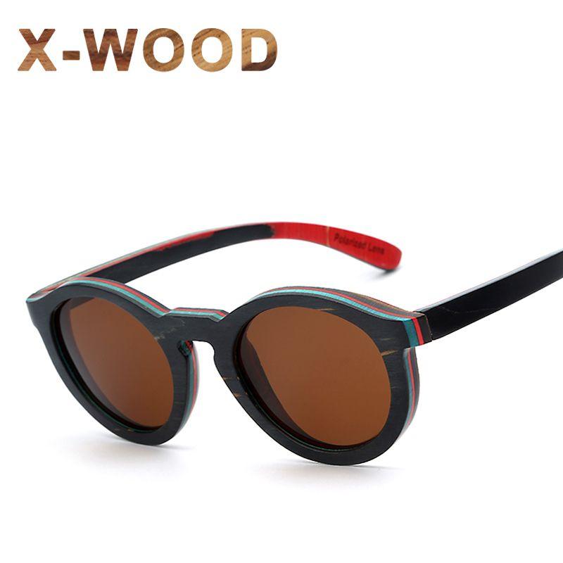 030ffce9a1e  Free Shipping  Buy Best X-WOOD Round Circle Polarized Wood Sunglasses For  Men Black Frame Skateboard Wooden Sun Glasses Women Glasses Brand Designer  Online ...