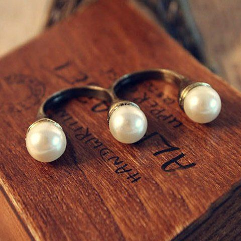 Retro Simple Style Pearl Embellished Double Finger Design Finger Ring For Women
