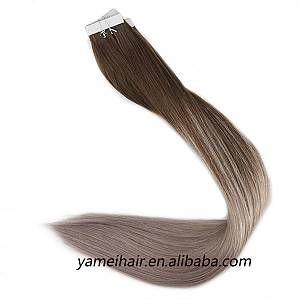 Factory Supply 10A Remy Double Drawn Human Hair Extensions #4/18 ombre Tape In Hair