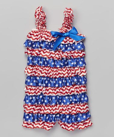 Love this Blue & Red Stars & Zigzag Ruffle Romper - Infant & Toddler on #zulily! #zulilyfinds
