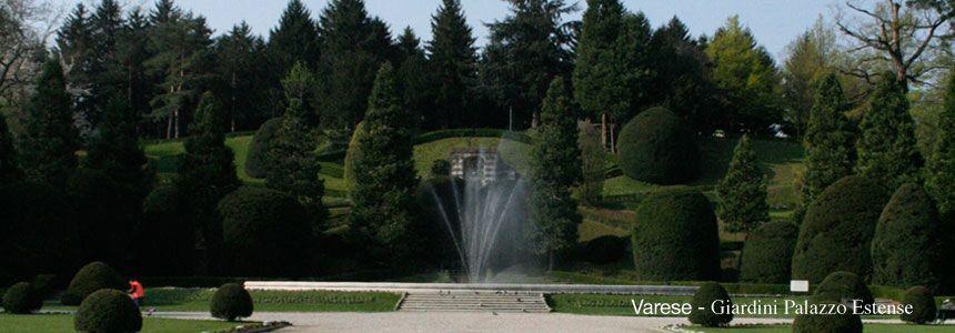 i bellissimi Giardini Estensi di Varese, la fontana della parte del parco in stile francese, il parterre, e la salita alla gloriette. Ospitano il settecentesco Palazzo Estense, sede del Comune della città. Le mie foto http://www.itcvarese.it/