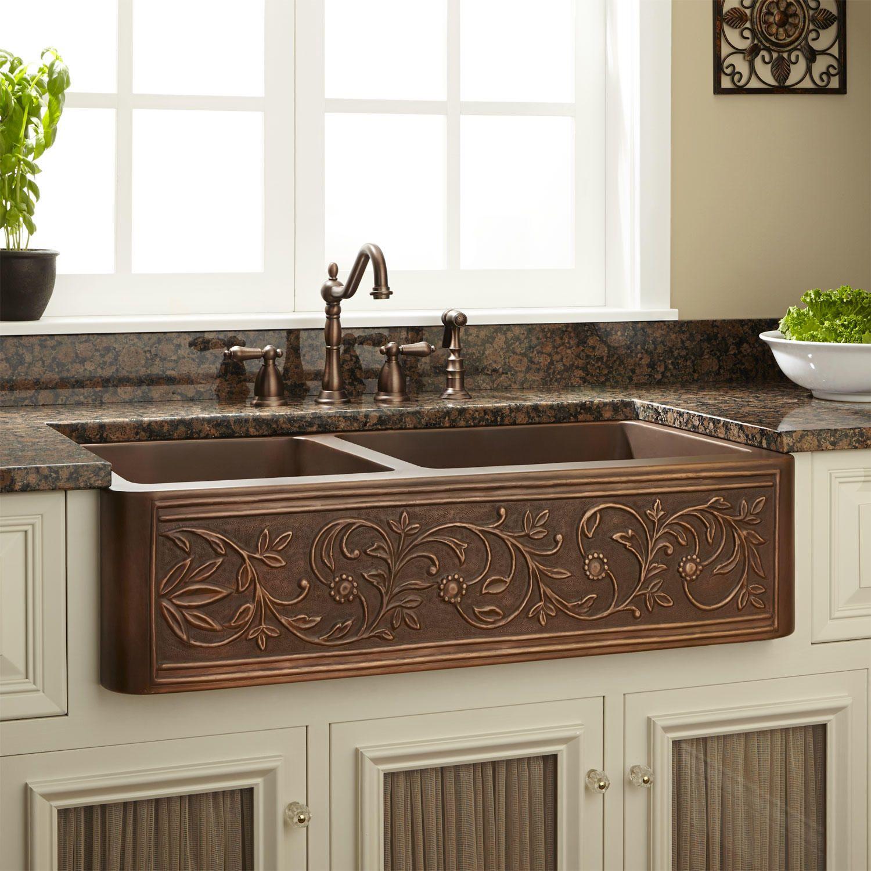 Vine Design 60/40 Offset Double-Bowl Copper Farmhouse Sink