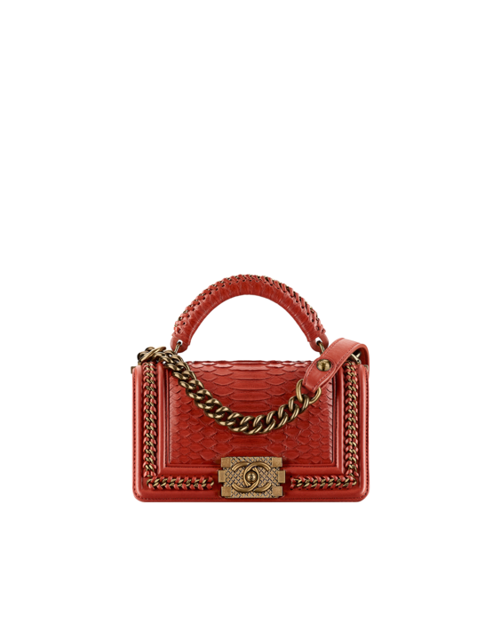b1ff3e2c5af7 BOY CHANEL FLAP BAG WITH HANDLE PYTHON, LAMBSKIN & BRONZE METAL DARK RED