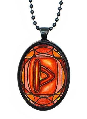 Rune Thurisaz for Instinct, Will, Force, Defense, Eroticism, Sexuality Huge 30x40mm Black Pendant