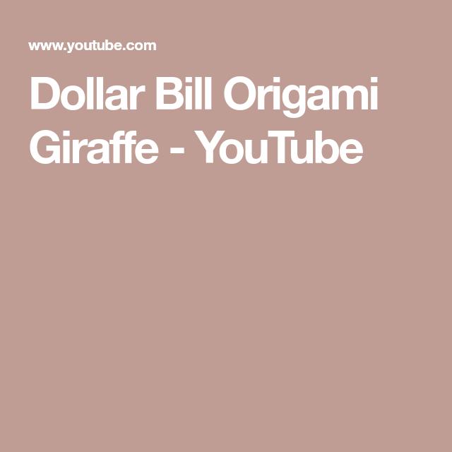 Geld Origami GIRAFFE gefaltet mit Real One Dollar Bill isoliert ... | 640x640