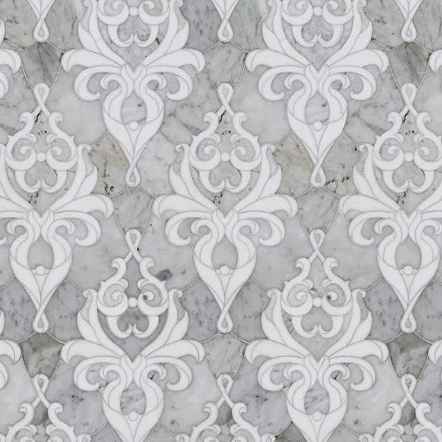 We love this elegant damask water jet marble mosaic and proud to be a new dealer for this fabulous line by Mosaique Surface.   #UniqueTile