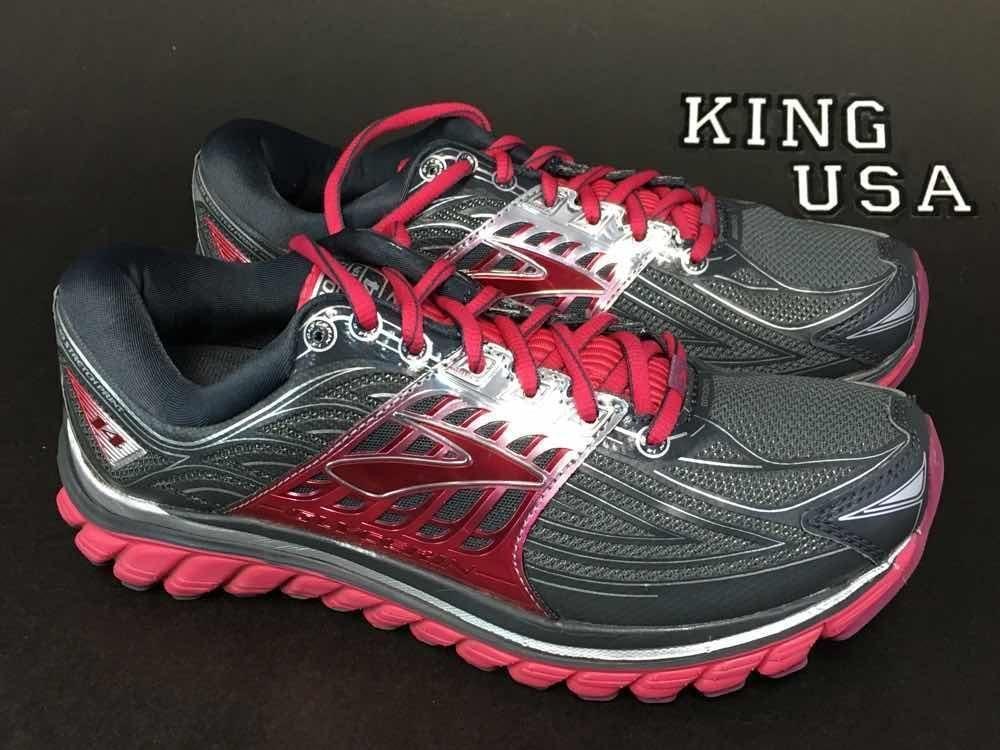 Womens Brooks Glycerin 14 Running Training Shoes Anthracite Azalea D-Wide