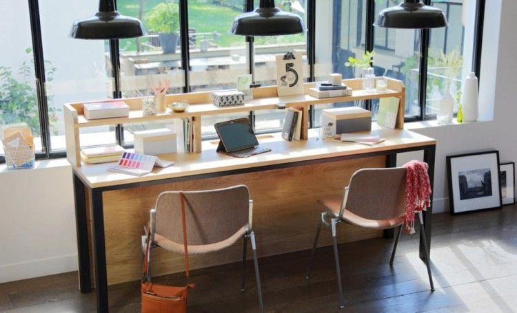 Comment Construire Un Bureau En Chene Avec Cadre Et Pieds En Metal Bureau Bois Tablette En Bois Et Construire Un Bureau