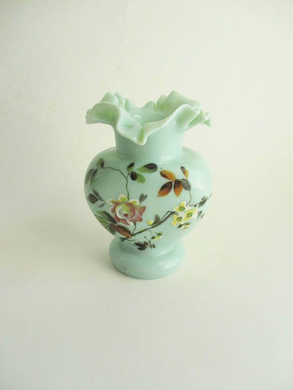 Vintage Fenton Green Glass Vase Ruffled Edge Hand Painted Flowers