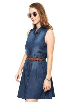 1ef99d607 Vestido Azul Marino de Mezclilla con Cinturón - Pink Connection. ropa de  moda