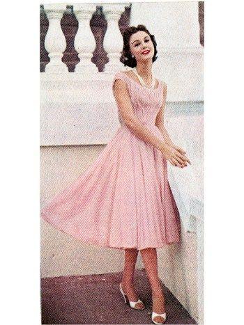 Pale pink perfection. Chiffon cocktail dress by Ceil Chapman.