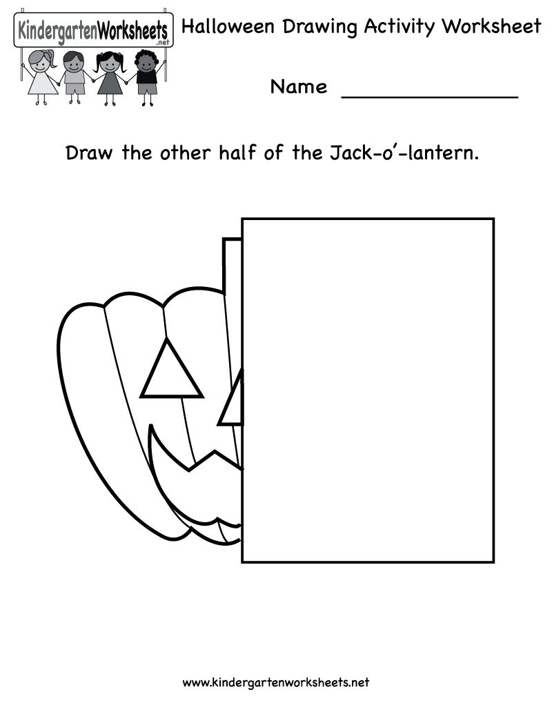 Kindergarten Halloween Drawing Activity Worksheet Printable Halloween Kindergarten Halloween Worksheets Drawing Activities [ 1035 x 800 Pixel ]