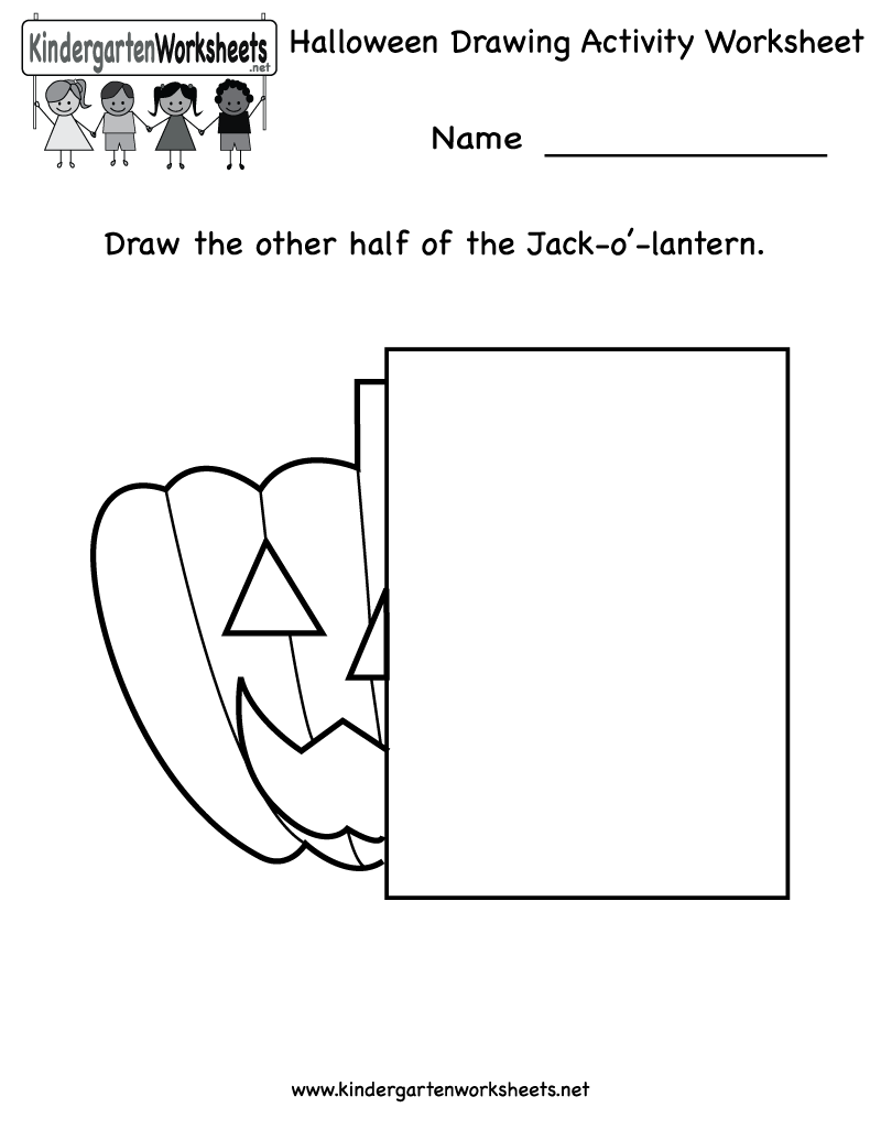 Kindergarten Halloween Drawing Activity Worksheet Printable | Free ...