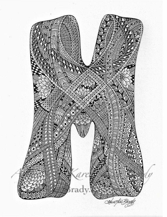 M zentangle doodle initial monogram authorized art print by Karen Anne Brady $5
