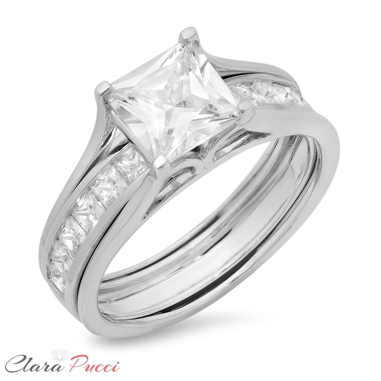 3 50 CT Princess Cut Engagement Bridal Ring band set Solid 14k