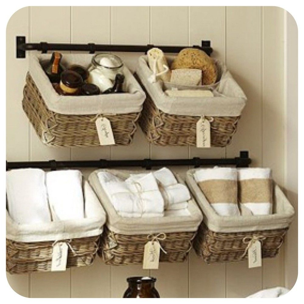 Bathroom Wall Towel Rack Wicker Basket Mounted