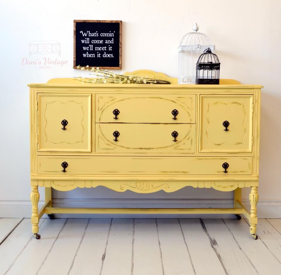 I Love This Vibrantly Painted Yellow Mustard Antique Buffet Sideboard Sometime Refinishing Furniture Diy Antique Sideboard Buffet Yellow Painted Furniture