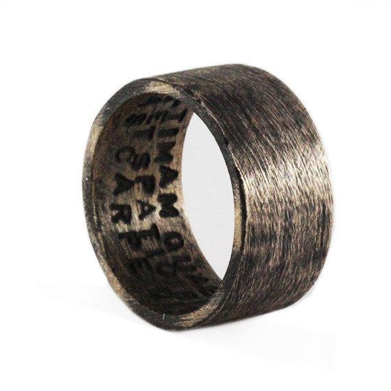 Mens Wedding Band Rustic Bronze Oxidized Plain Man Rings
