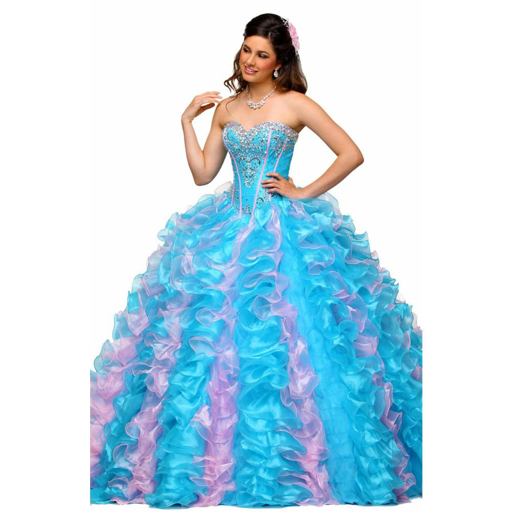 Click to Buy << 2017 Beading Quinceanera Dresses Light Blue Ruffles ...