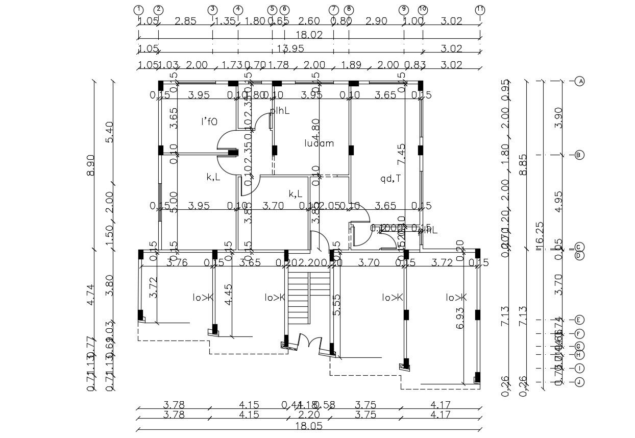 Working Drawing Of Residential Building Autocad Drawing In 2020 Autocad Floor Plan With Dimensions How To Plan