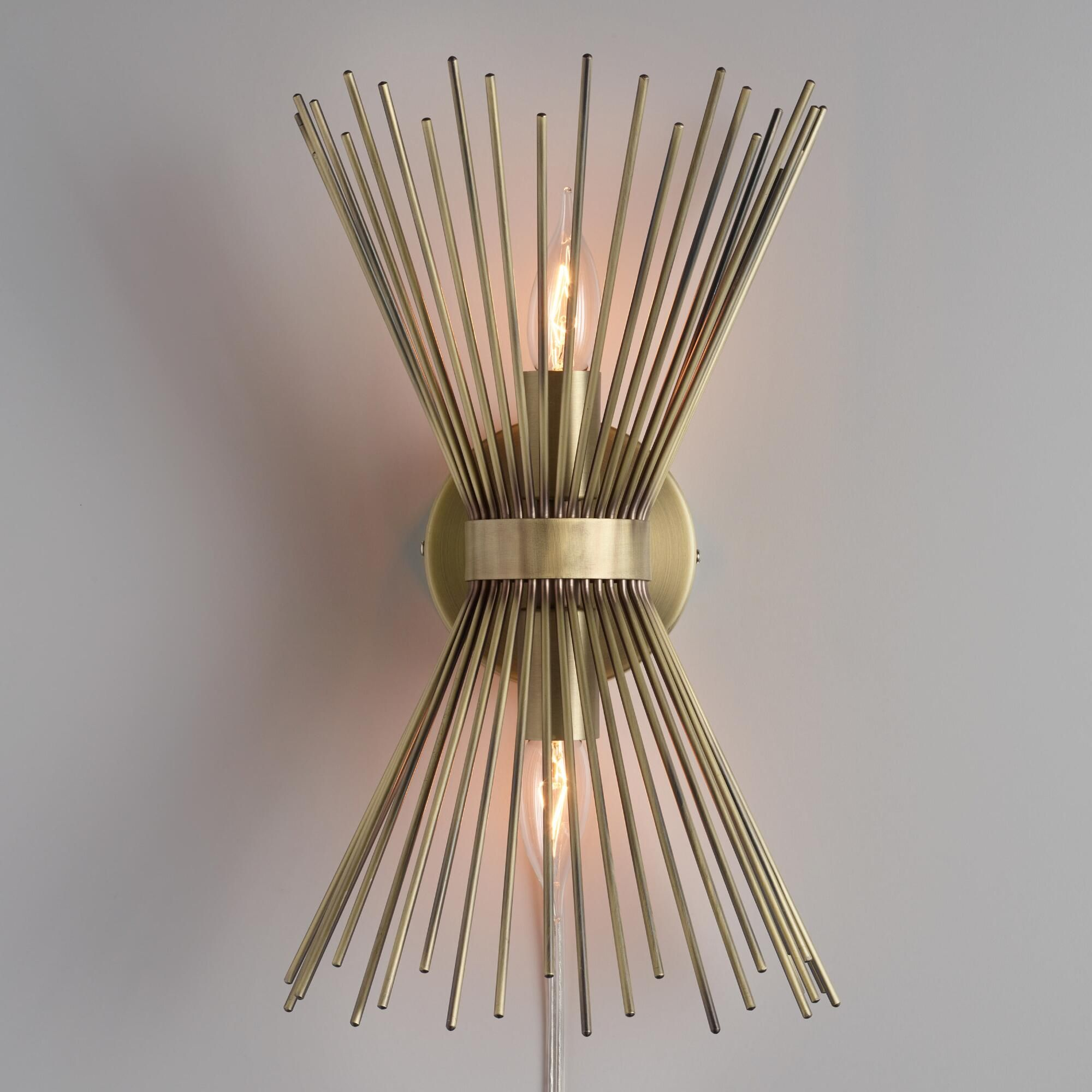 Crafted Of Iron With A Matte Brass Finish Our Exclusive Dual Light Wall Sconce
