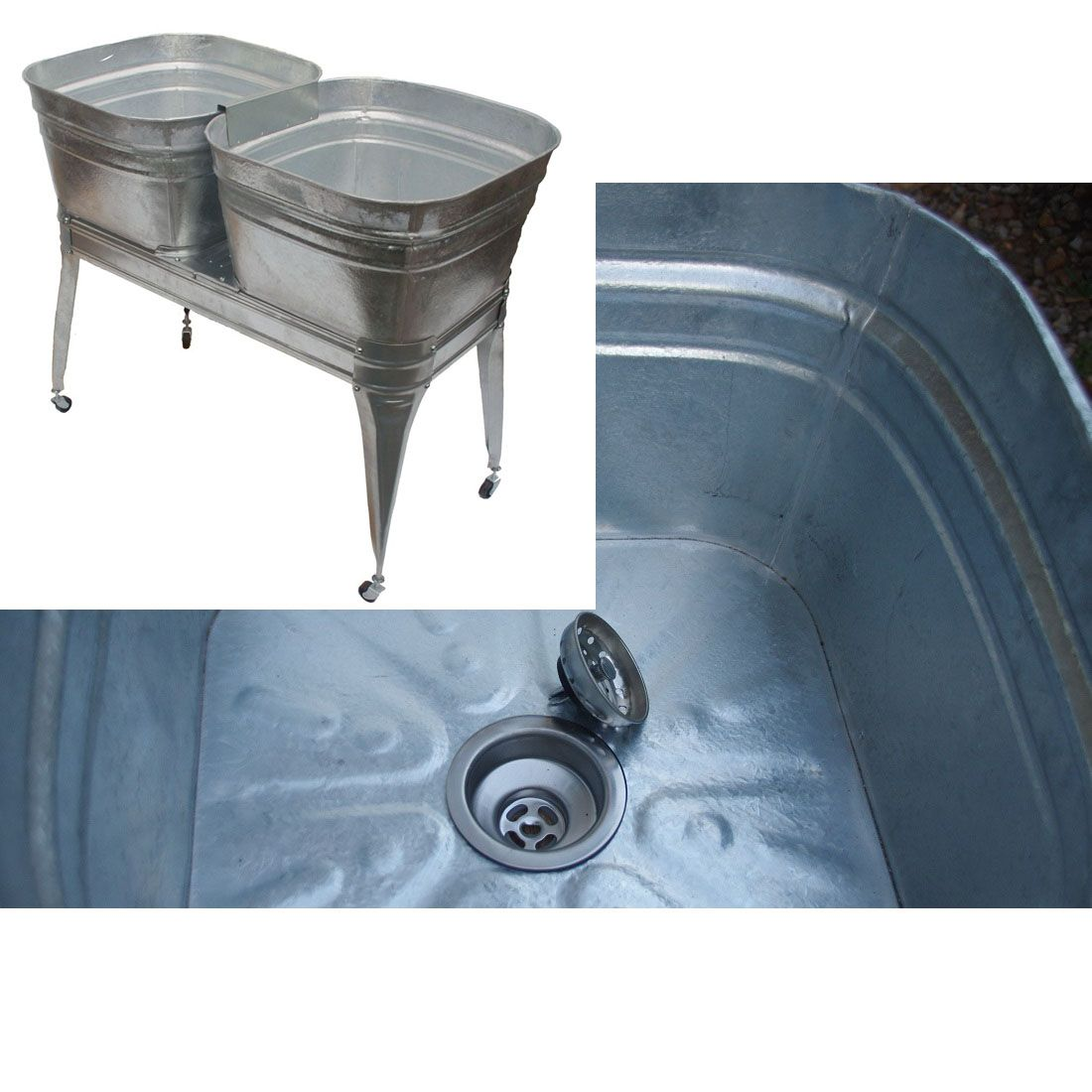 Square Wash Tub With Stand Single Or Double Wash Tubs Wash Tub Sink Galvanized Wash Tub