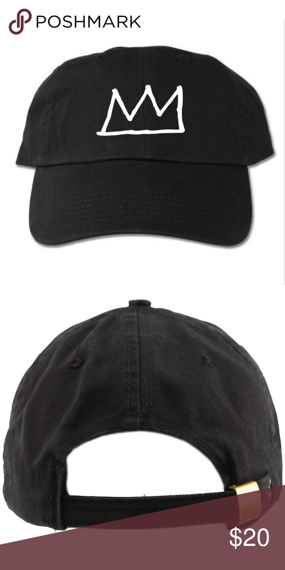 2f6705a7432 Basquiat Crown Black Dad Hat 6-panel adult hat Graphic at front Strapback  One size 100% cotton Designed with vinyl Accessories Hats