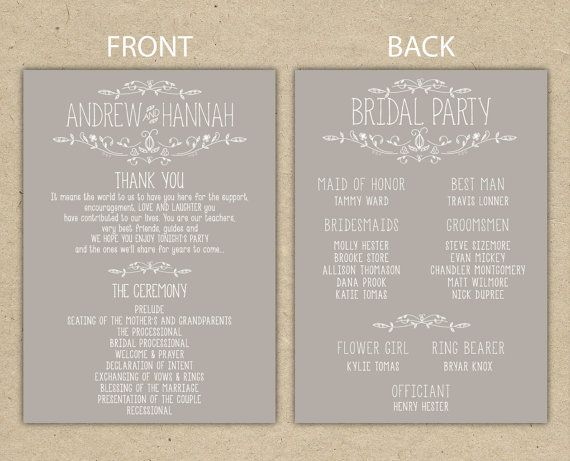 Wedding Program, wedding reception, wedding thank you. printable ...