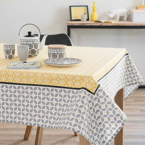 nappe en coton grise jaune 150 x 250 cm sunny linge de table pinterest salons. Black Bedroom Furniture Sets. Home Design Ideas