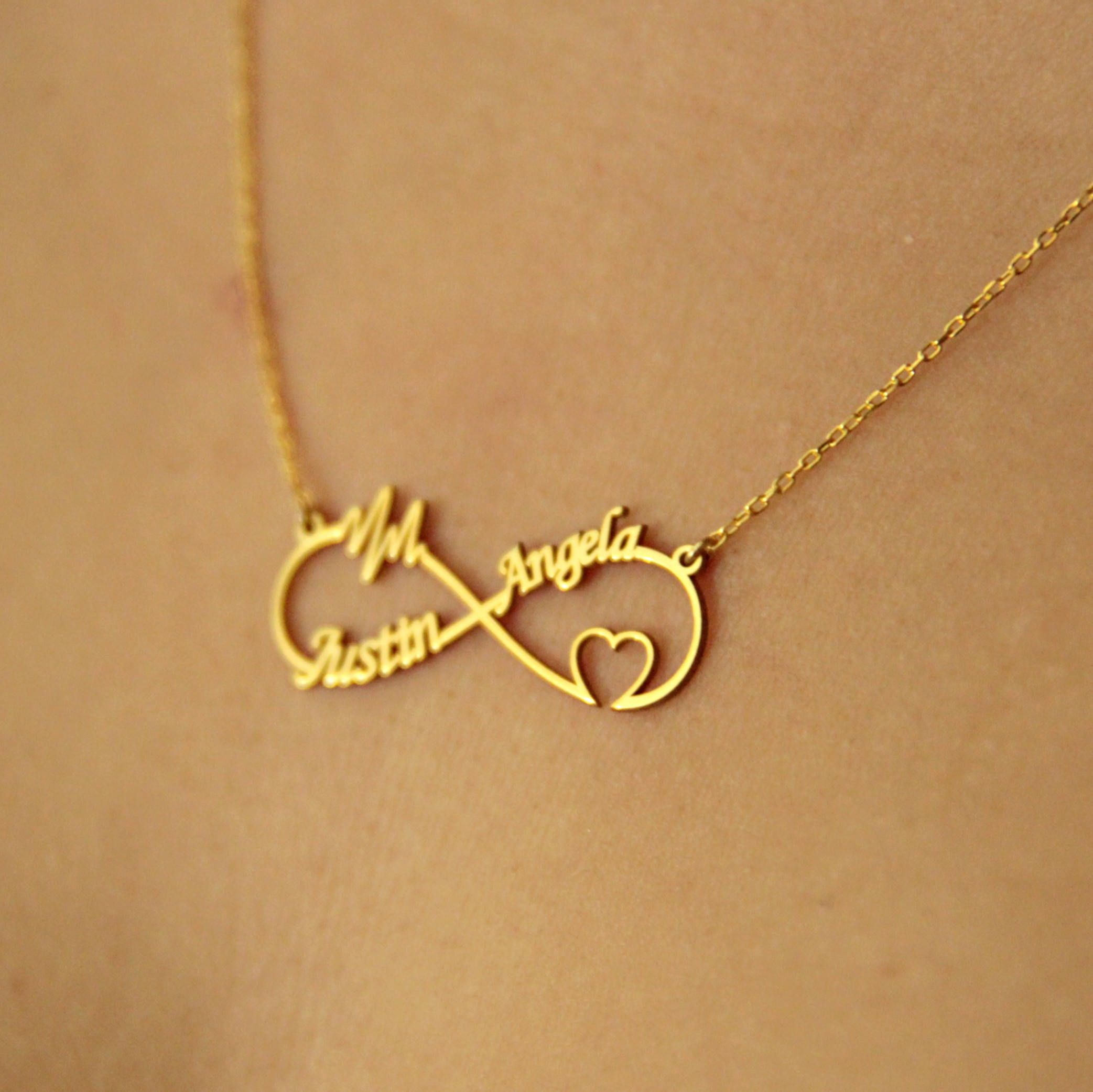 Personalized infinity necklace heart infinity necklace heart beat