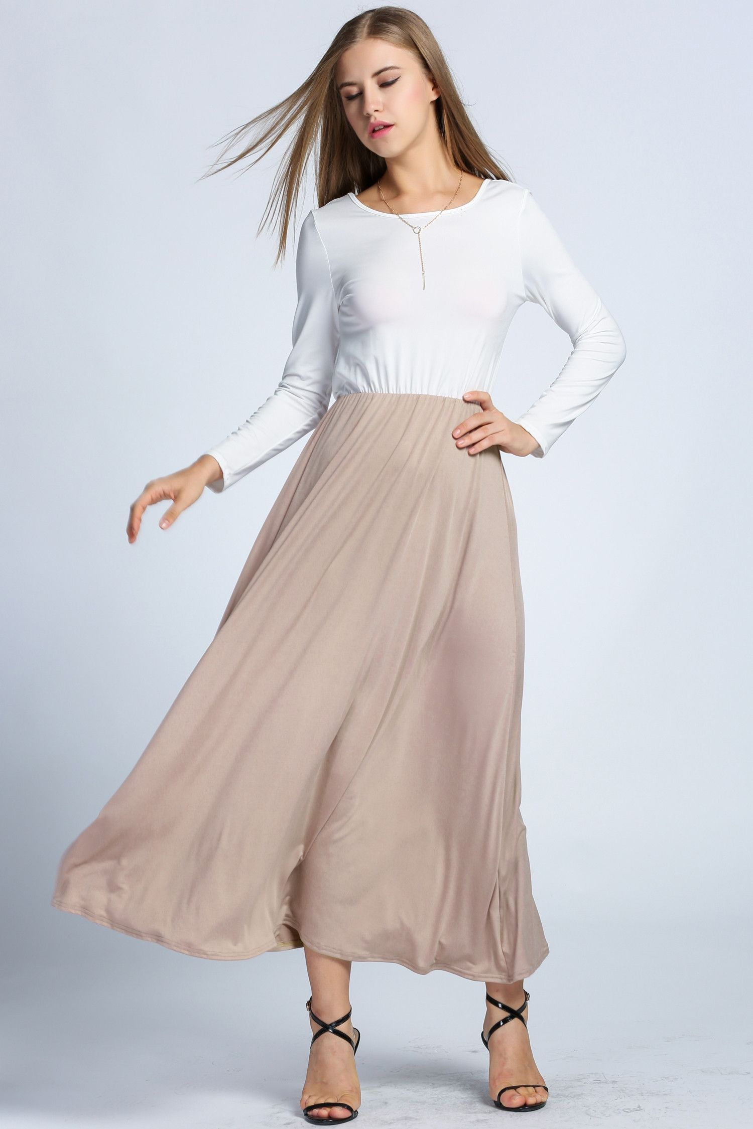 Sexy womenus long sleeve backless patchwork maxi long party dress