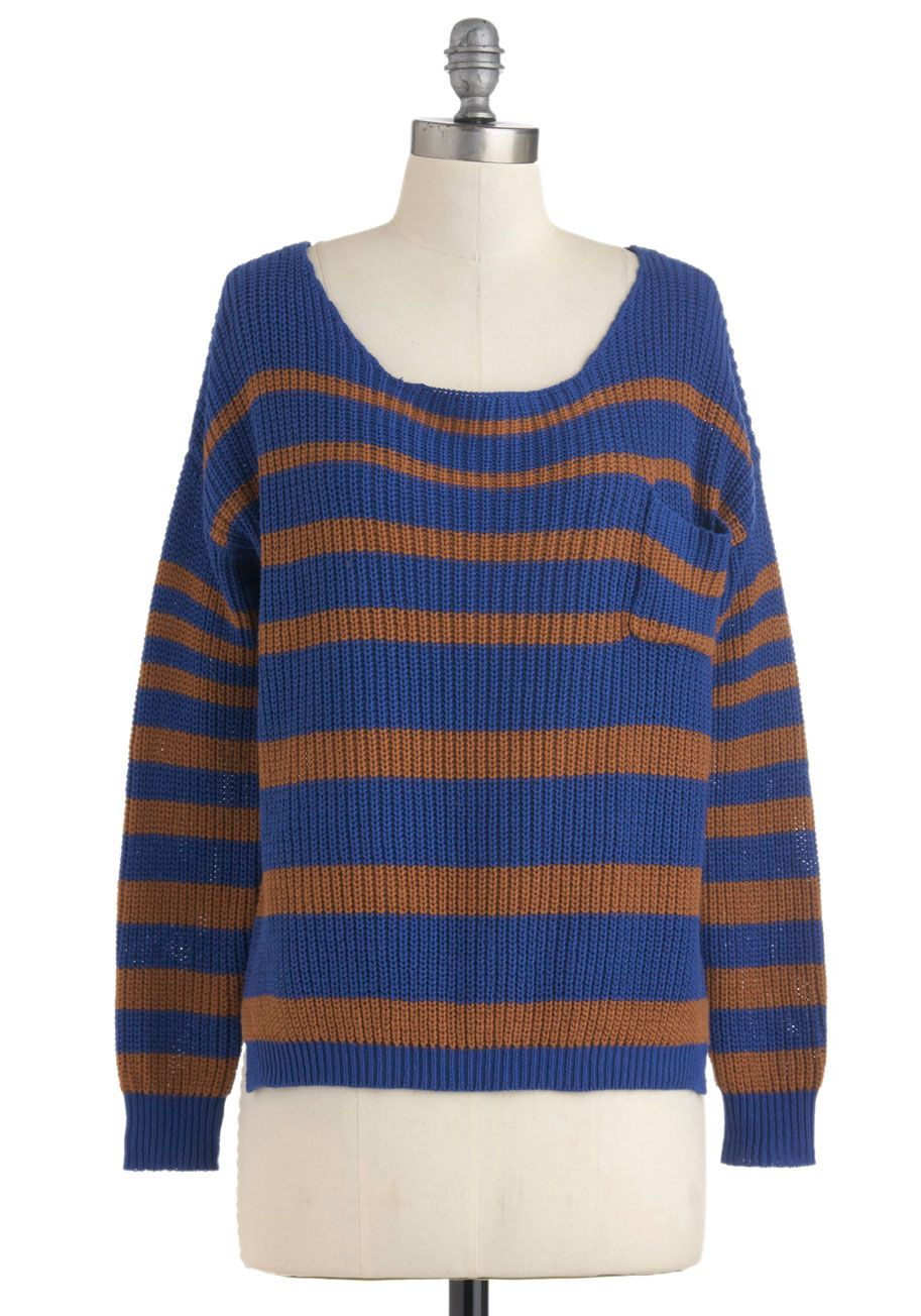 Sand Meets Sky Sweater Brown, Stripes, Pockets, Casual