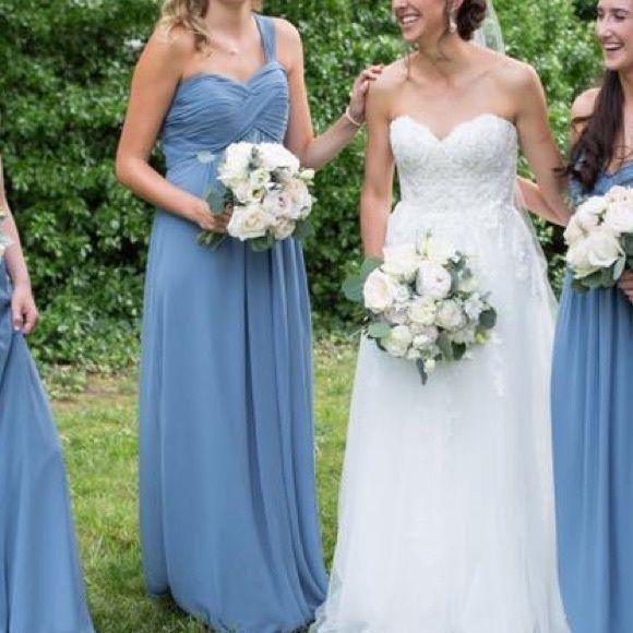 Bill Levkoff Slate Blue Bridesmaid Dress Size 14 | Pinterest