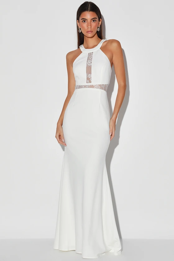Infinite Love White Lace Halter Mermaid Maxi Dress In 2020 Satin Bridesmaid Dresses White Lace Maxi Dress White Lace Maxi