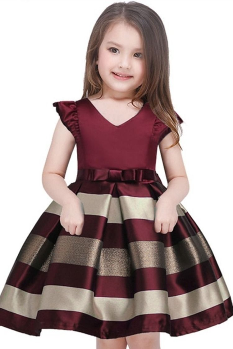 7c92c1c69 Baby Girls Striped Dress For Girls Formal Wedding Party Dresses Kids ...