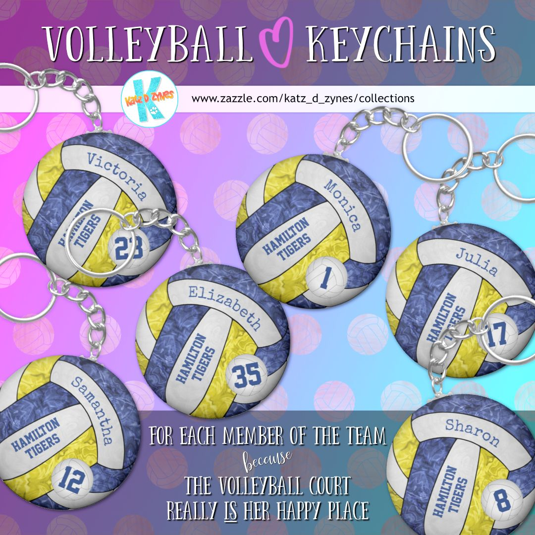 Blue And Yellow Girls Volleyball Keychains Bag Tags Backpack Tags Duffel Tags Many School Color Combinations Custom Team Gifts Team Gifts Volleyball