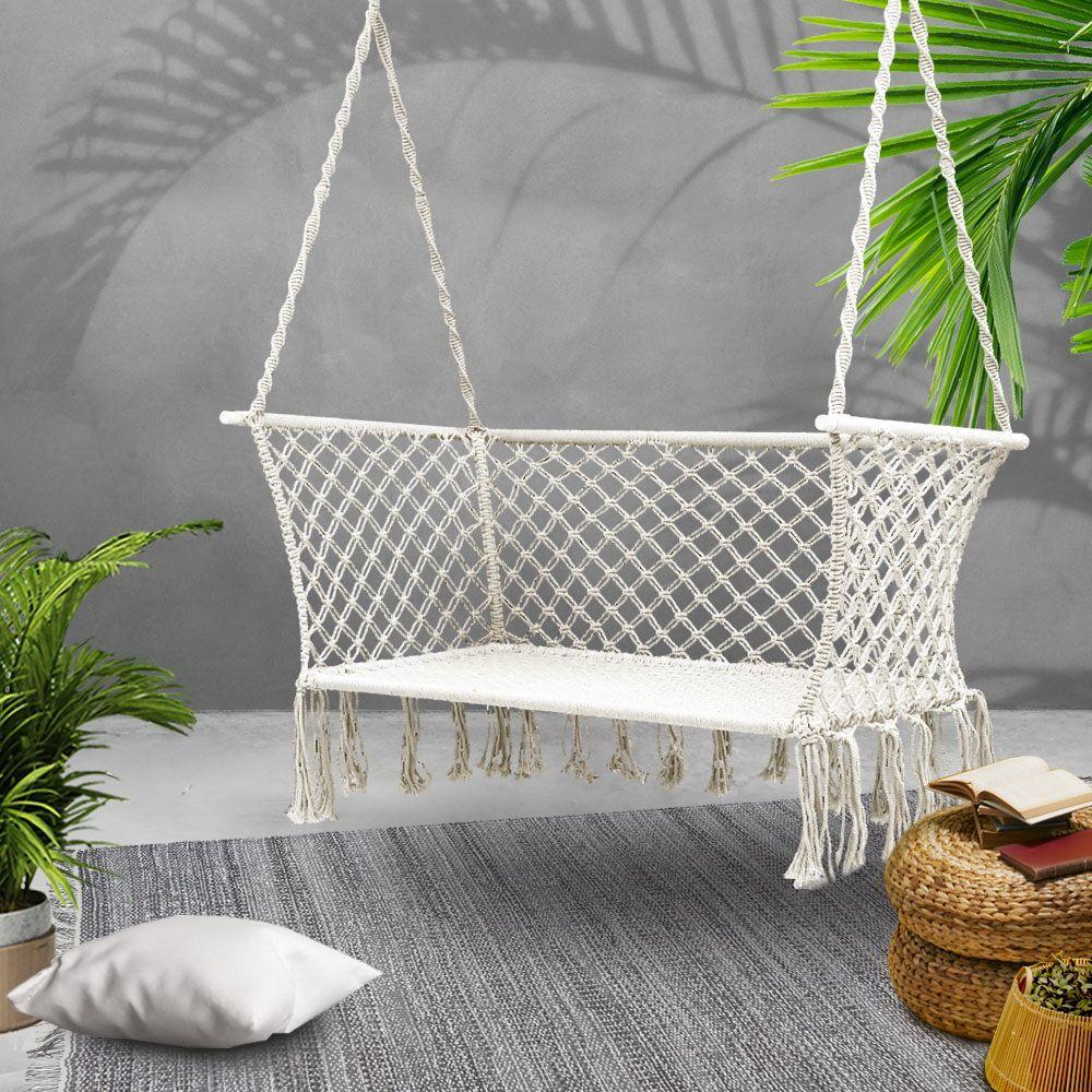 Gardeon 2 Person Swing Hammock Chair Online Only Cream Matt