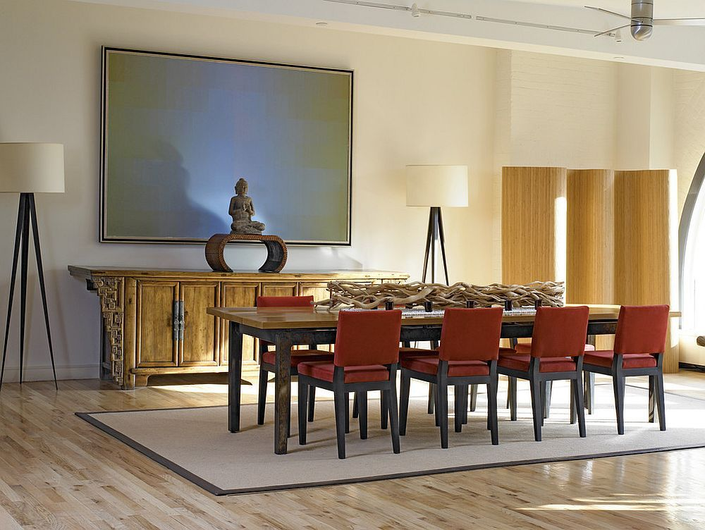 Custom Zen Plank Dining Table And Buffet In The Asian Style Dining Space Japanese Design Inspire Asian Dining Tables Table Styling Dining Dining Room Buffet