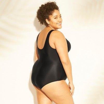 37c8ebdd165 Women's Plus Size Twist Front Cut Out One Piece Swimsuit - Kona Sol Black  14W