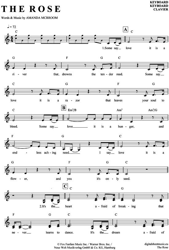 The Rose (Keyboard) Bette Midler [PDF Noten] >>> KLICK auf