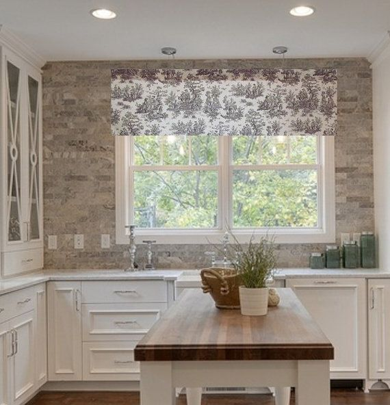 Toile Valance Brown/Natural French Country By