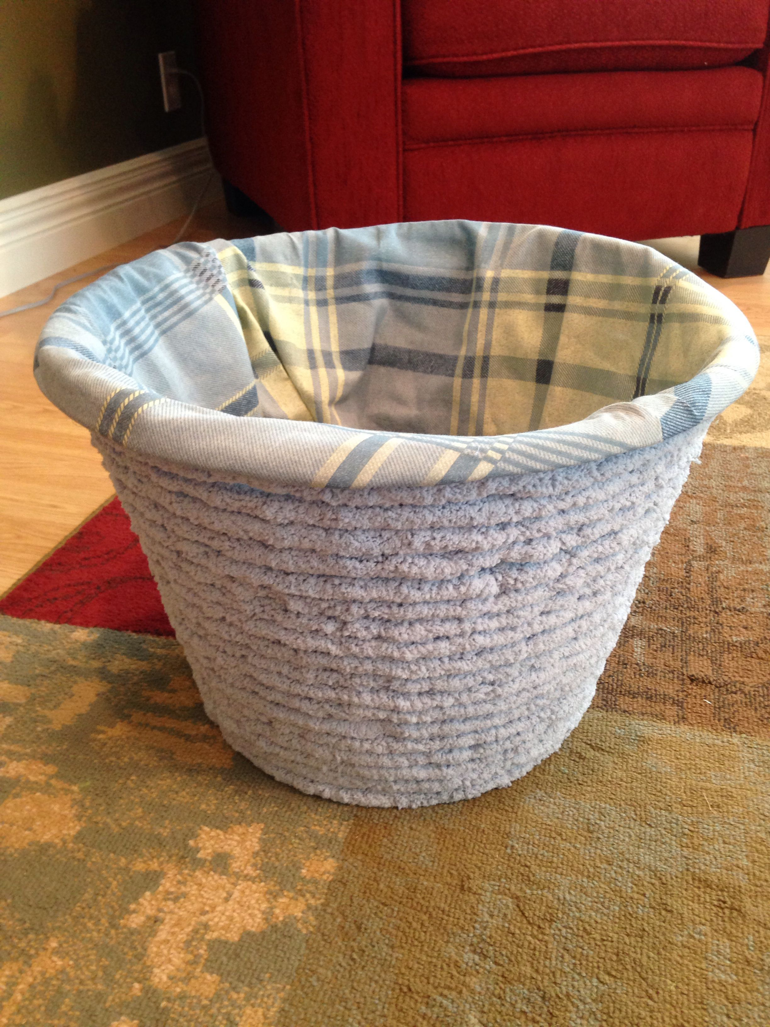Laundry Basket Crochet Yarn Wrapped Around A Dollar Tree Basket With An Old Pillow Case Inside Basket Laundry Dollar Tree Baskets Old Pillows Basket