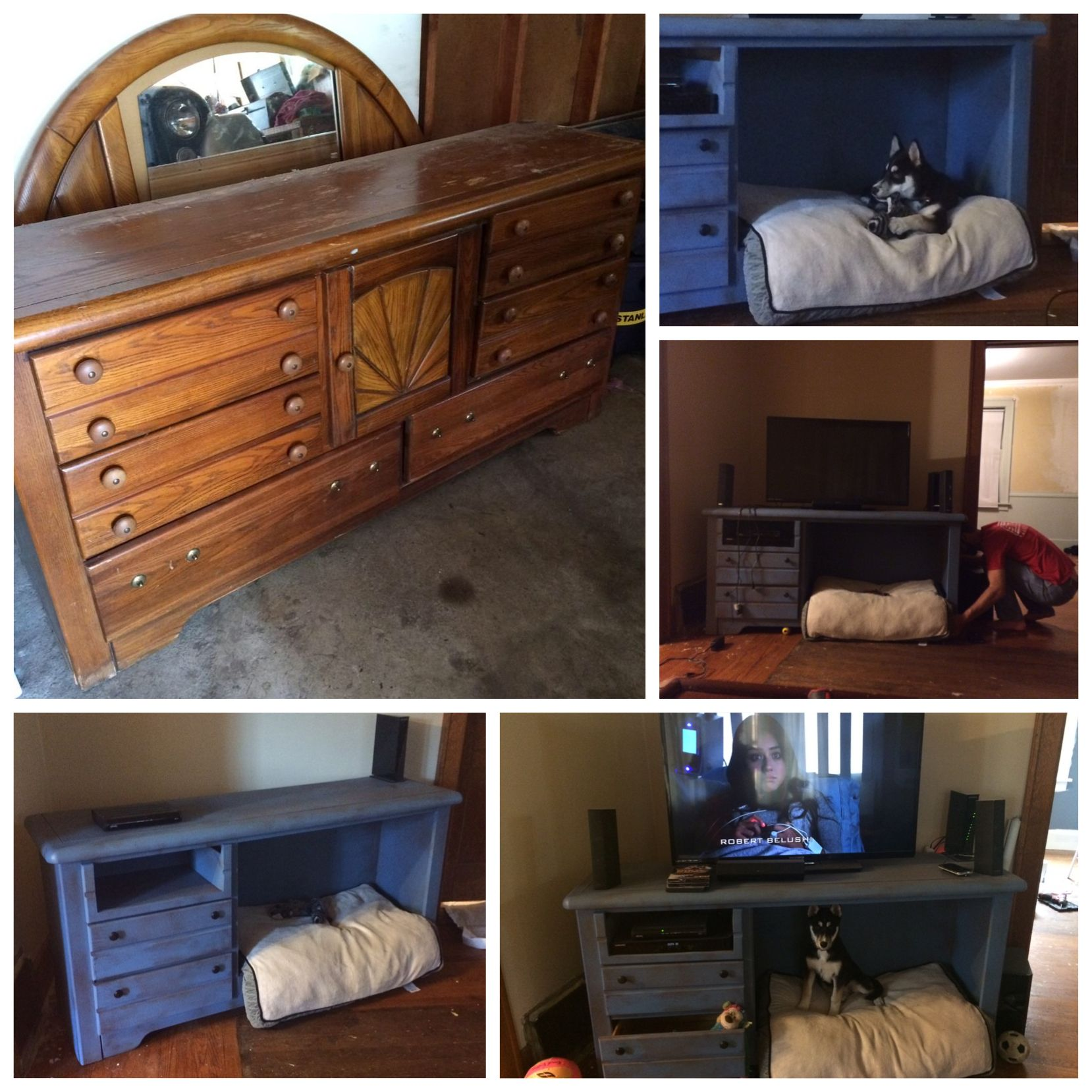 We turned this old dresser into a revamped TV stand dog bed for