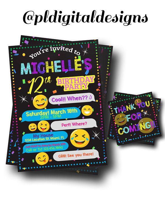 27495bca13f9e Emoji Party Invitation - Tween Party Invite - Text Emoji Invitation - Free  Thank You Cards - Digital