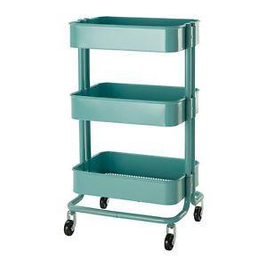 Ikea Raskog Turquoise Rolling Kitchen Cart Metal Garden Bath Ebay