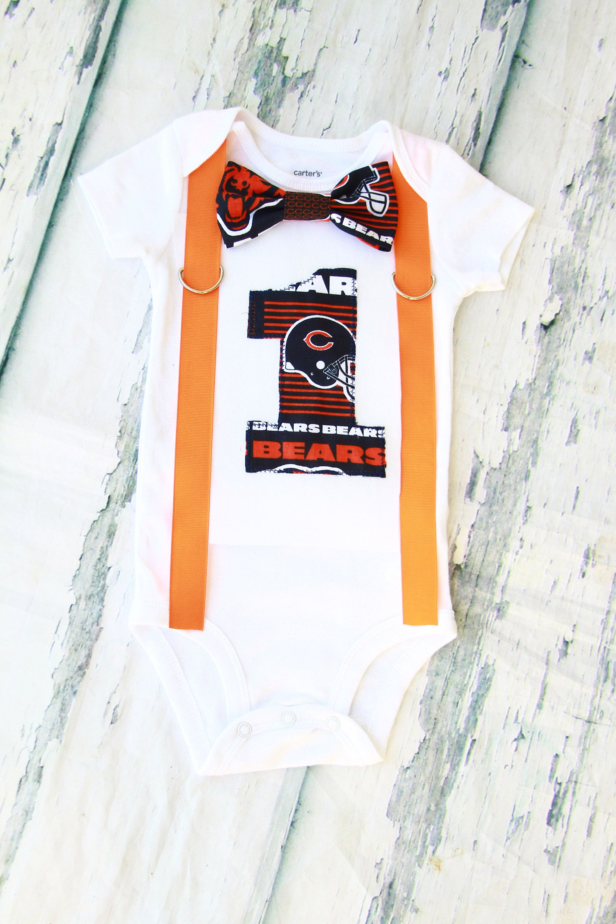Baby boy Chicago Bears NFL Football Themed first birthday onesie