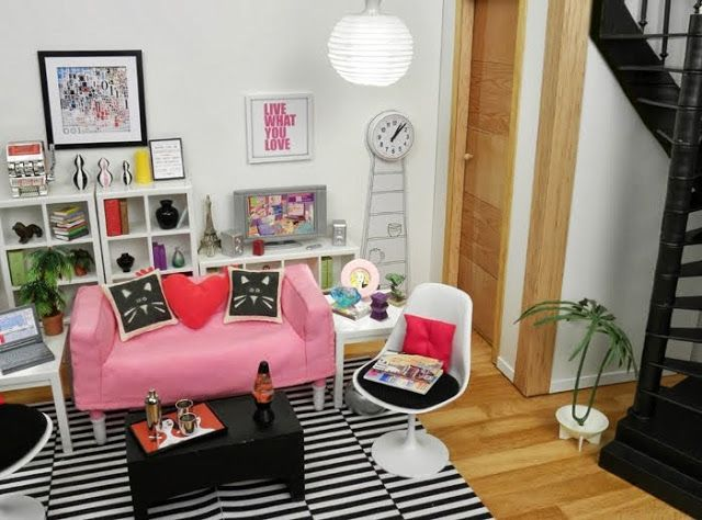 Materials:HUSET living room scale modified with door hardware.  Description:The HUSET living room playset is slightly undersized for 1:6 scale, but a